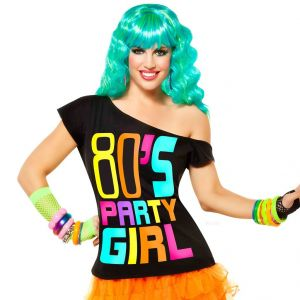 80's Party Girl Black Tee