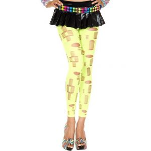 Ripped Holes Leggings Neon Green