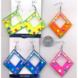80s Party Earrings Diamond