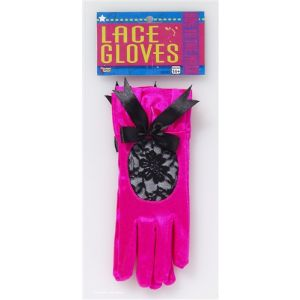 Pink Satin Lace Gloves