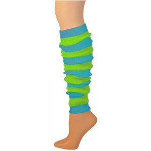 80s Turquoise Lime Striped Leg Warmers