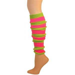 80's Lime Pink Striped Leg Warmers